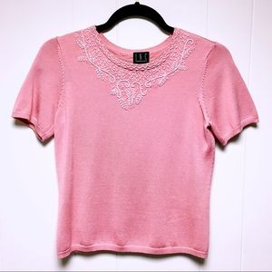 INC Embroidered Short Sleeve Sweater Crop Top Pink
